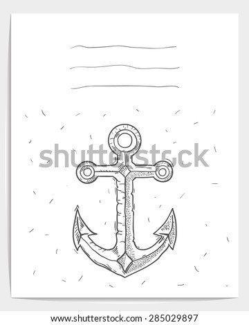 Vector greeting card with anchor. Tattoo style.