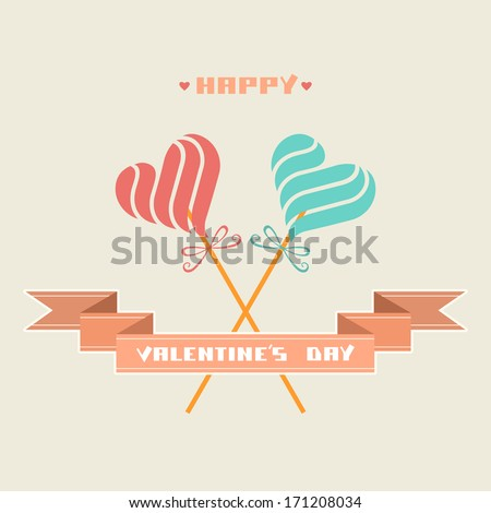 Vector greeting card  with candy in shape of hearts, banner, inscription - Happy Valentine's Day. Romantic abstract decorative simple illustration. Comic hipster concept of couple enamored for wedding - stock vector