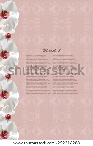 vector greeting card with orchids, may be used as a Women's Day backdrop  - stock vector
