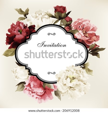 Vector greeting card with roses, can be used as invitation card for wedding, birthday and other holiday and  summer background - stock vector