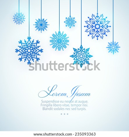 Vector greeting card with snowflakes