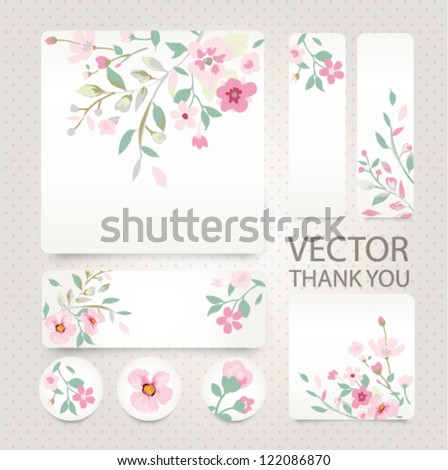 vector greeting card with tiny flower,floral - stock vector