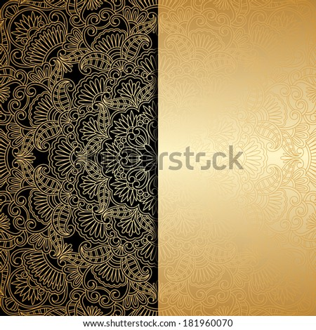 Vector greeting card with vintage floral ornament and place for text. - stock vector