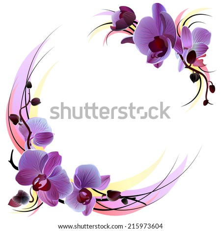 Vector greeting card with violet gentle orchids branches,isolated on the white background - stock vector