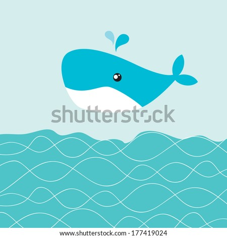 Vector greeting card with whale on the sea waves. - stock vector