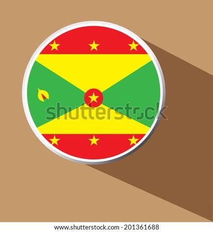 Vector - Grenada flag button icon with long shadow   - stock vector