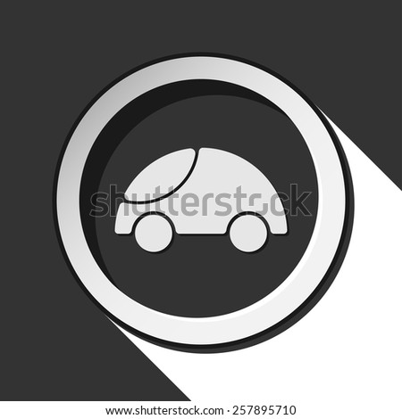 vector grey button with car and stylized shadow - stock vector