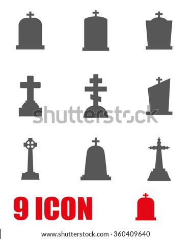 Vector grey gravestone icon set.
