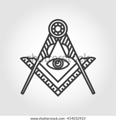 Vector Grey Masonic Freemasonry Emblem Icon Stock Vector 414032923