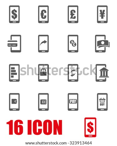 Vector grey mobile banking icon set. Mobile Banking Icon Object, Mobile Banking Icon Picture, Mobile Banking Icon Image, Mobile Banking Icon Graphic, Mobile Banking Icon JPG - stock vector - stock vector