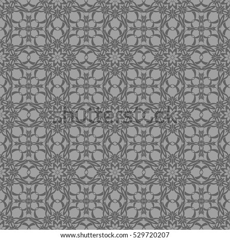 Vector Grey Ornamental Seamless Line Pattern. Endless Texture. Oriental Geometric Ornament