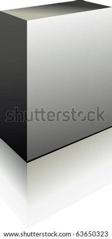 Vector Grey Perfect Blank 3d Box with reflection - stock vector