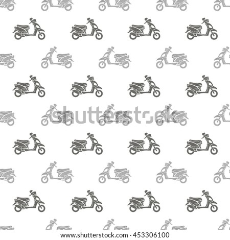 Vector Grey Scooters Isolated on White Background. Seamless Scooter Pattern