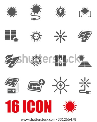Vector grey solar energy icon set