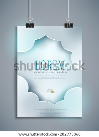 Vector grey template for design hanging on the wall - stock vector