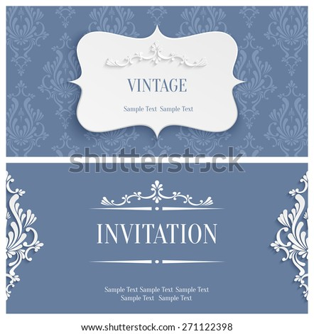 Vector Grey Vintage Background with 3d Floral Damask Pattern for Greeting or Invitation Card Design in Paper Cut Style - stock vector