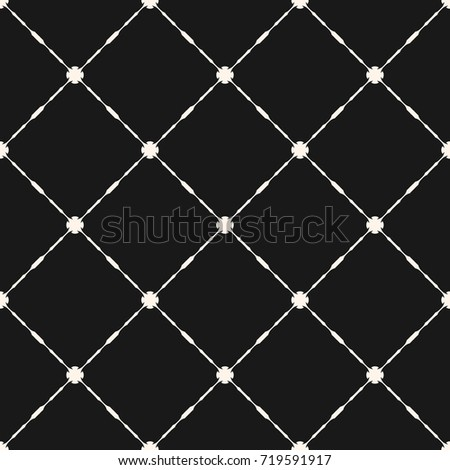 Vector grid seamless pattern. Abstract geometric texture with thin square lattice, carved shapes, diagonal lines. Elegant monochrome vintage background, repeat tiles. Dark design for decor, covers