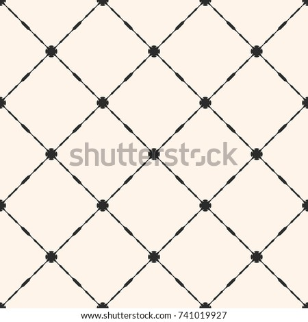 Vector grid seamless pattern. Abstract geometric texture with thin square lattice, carved shapes, diagonal lines. Elegant monochrome vintage background, repeat tiles. Design for decor, textile, fabric