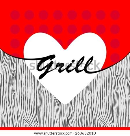 Vector grill heart on wooden texture - stock vector