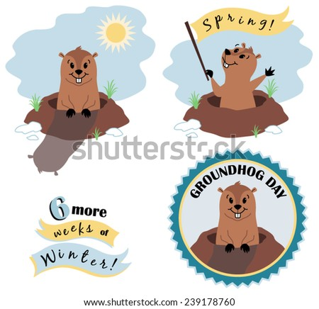 Vector Groundhog Day Illustration Set - stock vector