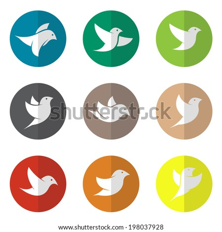 Vector group of bird in the circle on white background - stock vector