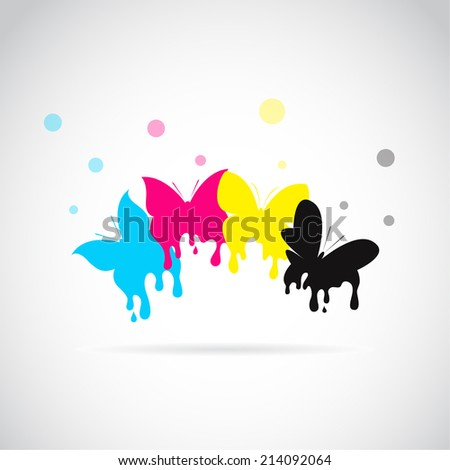 Vector group of butterfly colored cmyk print on white background. - stock vector