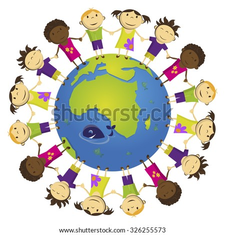 Vector group of kids around the world