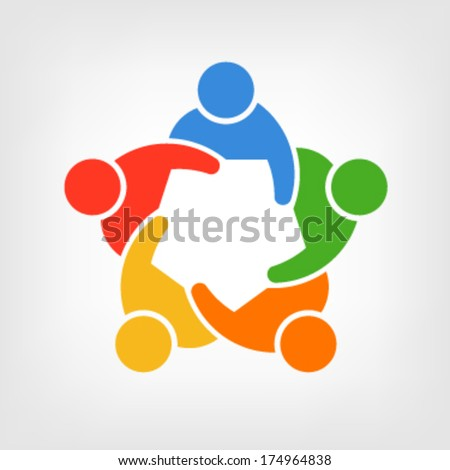 Vector group of people, Team convention 5 - stock vector