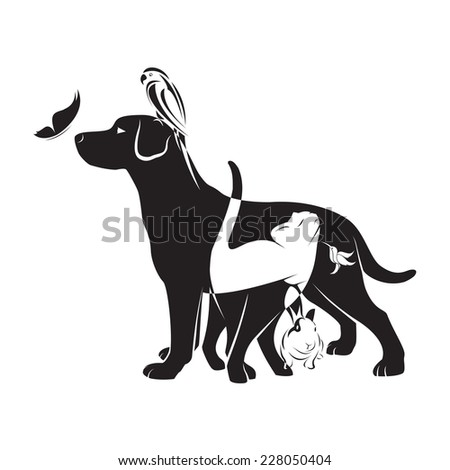 Vector group of pets - Dog, cat, bird,butterfly, rabbit, isolated on white background - stock vector