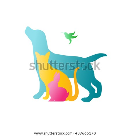 Vector group of pets - Dog, cat, rabbit,  humming bird isolated on white background. / Vector pets for your design. - stock vector