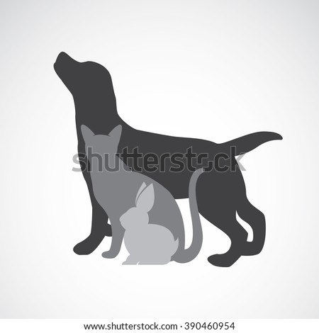 Vector group of pets - Dog, cat, rabbit, isolated on white background. Animal design - stock vector