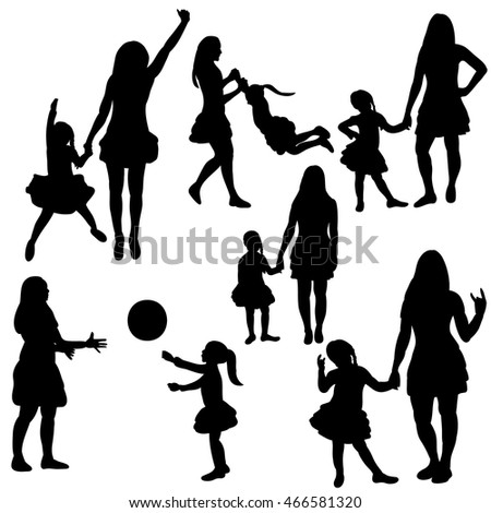 vector, group of silhouettes mother plays with the child, set