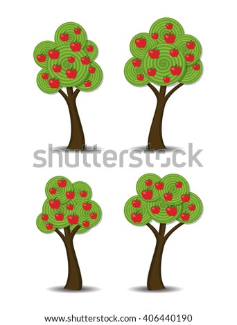 vector group of stylized abstract apple trees with fruits