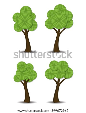 vector group of stylized abstract trees