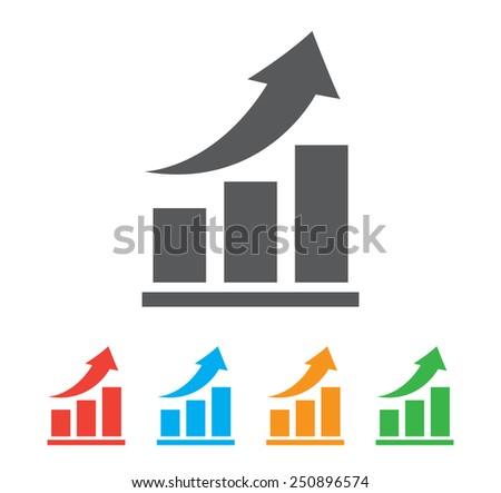 Vector growing graph icon - stock vector