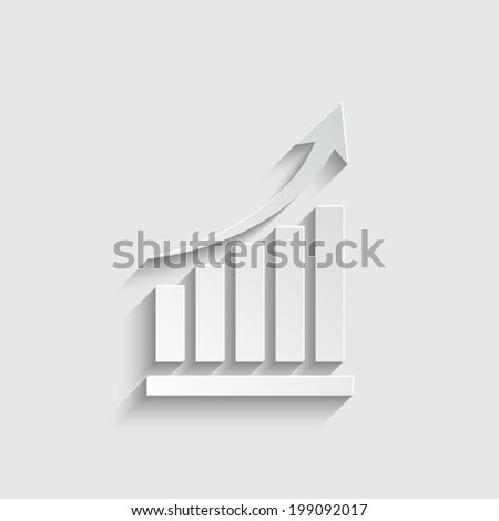Vector growing graph icon on a grey background
