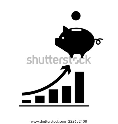 vector growing graph with piggy money bank icon | modern black flat design pictogram isolated on white background - stock vector