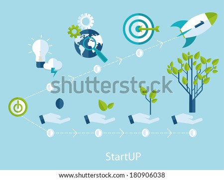 Vector growth and startup concept   in flat style - signs and banner - new business. - stock vector