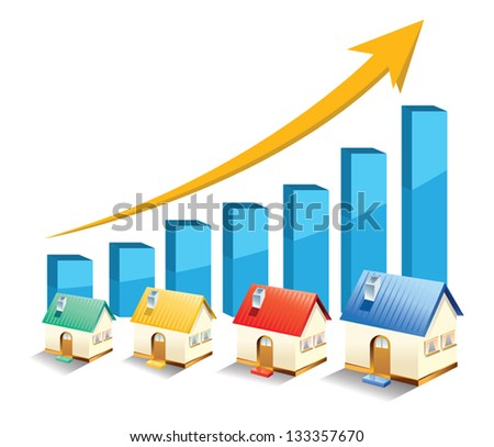 Vector growth in real estate shown on chart - stock vector