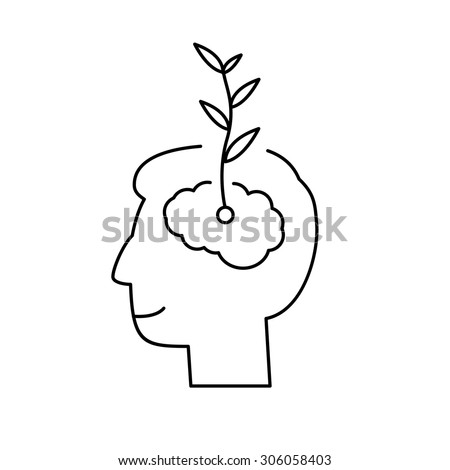 Vector growth mindset skills icon growing plant from the brain | modern flat design soft skills linear illustration and infographic black on white background
