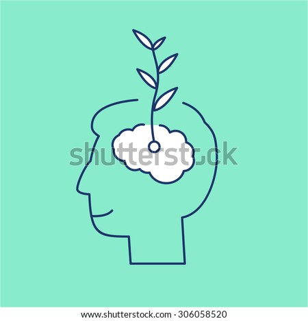Vector growth mindset skills icon growing plant from the brain | modern flat design soft skills linear illustration and infographic on green background