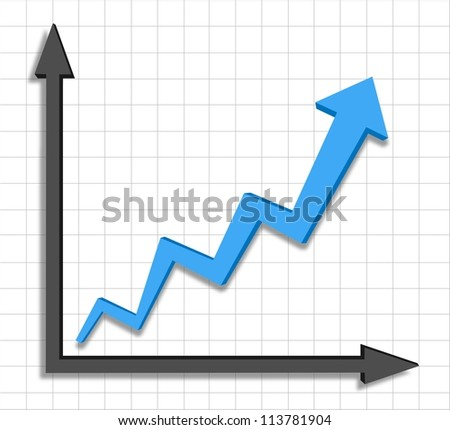 vector growth progress blue arrow graph - stock vector