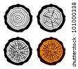 vector growth rings tree trunk symbols - stock photo