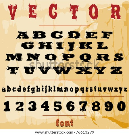 Vector grunge alphabet with letters, numbers