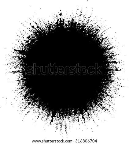 Vector Grunge Background. Circle Brush Stroke . Distressed Shape . - stock vector