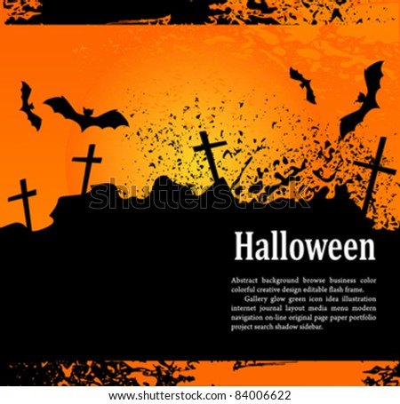 vector, grunge background for holiday Heluin, with crosses and bats - stock vector