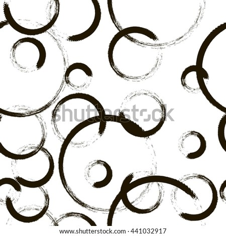 Vector grunge background. Seamless pattern in black and white colors. Black grunge circle. Grunge shapes.