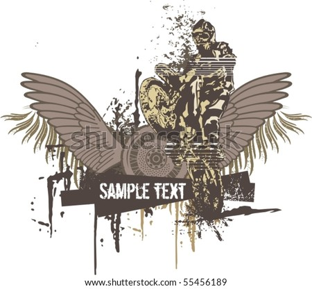 Vector grunge background with a hot rod motorcycle and a biker. - stock vector