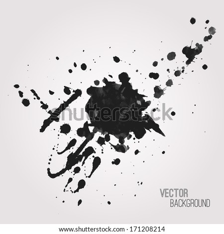 Vector grunge background with black splash - stock vector