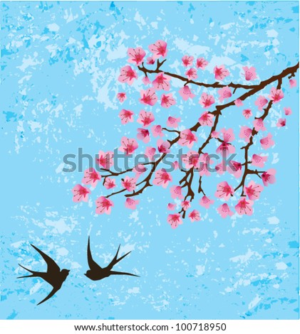 vector grunge background with floral branch and swallows - stock vector